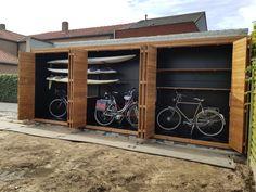 Backyard Storage Sheds, Garden Tool Storage, Backyard Sheds, Backyard Landscaping, Shed Design, Fence Design, Building A Garage, Carport Designs, Surf House