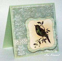 Lone Bird with Damask Background