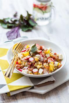 Lentils, quinoa and feta salad