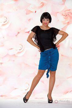 Natural Spin Signature Latin Skirt:  LS03_BLUE