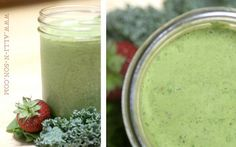 Spinach and kale green monster smoothie. I replaced the flaxseed with 1 T peanut butter.