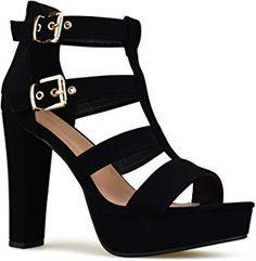 d61ca30be8 Premier Standard Women's Platform Ankle Strap High Heel - Open Toe Sandal  Pump - Formal Party. Ankle Strap High HeelsPlatform High HeelsBlack ...