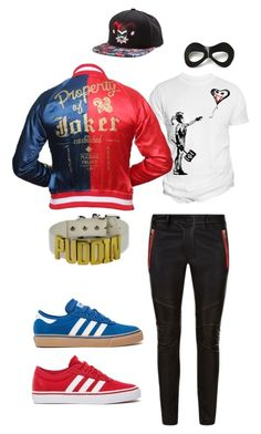 """male harley quinn"" by sidemenbanterr on Polyvore featuring Changes, Villain, Balmain, adidas, mens, men, men's wear, mens wear, male and mens clothing"
