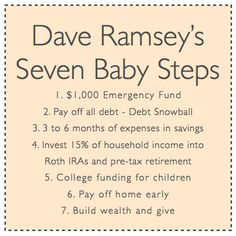 Dave Ramsey's Seven Baby Steps- Helpful future planning