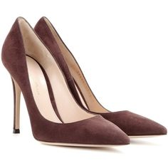 Gianvito Rossi Suede Pumps ($330) ❤ liked on Polyvore featuring shoes, pumps, heels, brown, brown pumps, heel pump, gianvito rossi, brown suede shoes and gianvito rossi shoes