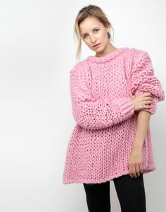 Shop Women's Wool And The Gang Knitwear on Lyst. Track over 12 Wool And The Gang Knitwear for stock and sale updates. Mohair Sweater, Pink Sweater, Stitch Fit, Big Knits, Knitwear Fashion, How To Purl Knit, Chunky Oversized Sweater, Pink Outfits, Casual Winter Outfits