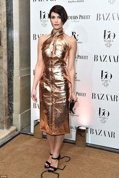 Golden girl: Gemma Arterton oozed glamour as she attended the Harper's Bazaar Women of the...