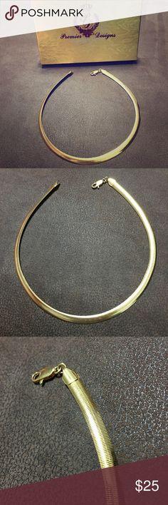"""Premier Designs Lotus Gold Collar Premier Designs """"Lotus"""" Gold Plated 15 3/4"""" Omega-Style Collar - New in box Premier Designs Jewelry Necklaces"""