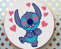 Lilo disney cross stitch pattern PDF Lilo and Stitch Download Cross Stich Chart Embroidery Needlework Disney cross stitch OHANA means family