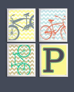 Personalized Bicycle Boys Nursery Transportation Art Silhouettes Green Orange Yellow Gray Blue with Initial set of 4 prints each 11x14
