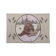 Vintage Placemats  Gorgeous vintage Cream of Wheat advertising featuring a lovely grizzly bear investigating a crate of Cream of Wh...