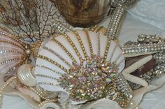 Beach Cottage Shimmer Collection Rainbow of Colors Jeweled Clam Shell Treasure