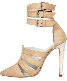Beige 3 strapped High Heel Sandal