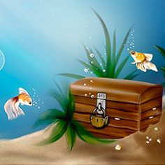 A very simple underwater Prezi template with the blue sea, yellow sand, 3 fish, treasure box and bubbles for your content.  This is a completely free and reusable template so you can Save a copy of it to your account here or download the .pez file by adding the template to the cart.