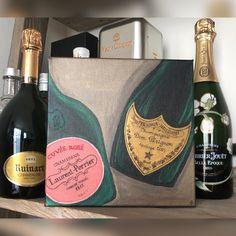 Champagne bottles acrylic painting 20x20 by Mariya Butakova Laurent Perrier, Dom Perignon, Champagne Bottles, Rose, Artwork, Paintings, Pink, Work Of Art, Auguste Rodin Artwork