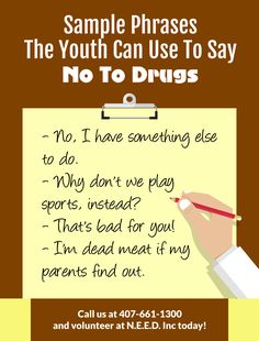 Sample Phrases The Youth Can Use To Say No To Drugs. #SayNoToDrugs