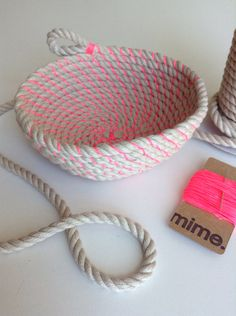 Coil rope bowl tutorial and materials. by LostPropertyHongKong 10 yards of beautifully soft 8mm cotton and jute rope  10 yards of neon waxed cotton cord