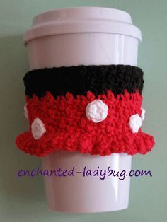 FREE crochet Minnie Mouse coffee cup cozy pattern by The Enchanted Ladybug