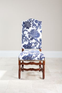 French Side Chair with blue and white Fabric