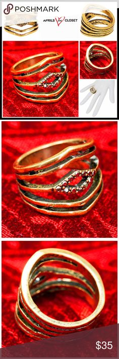 "⭐⭐ STEVE MADDEN STATEMENT RING 💟NEW WITH TAGS💟  STEVE MADDEN STATEMENT RING  * Textured gold plated construction  * Beautiful pave set studded rhinestones   * Multi-band w/cutout diamond detail  * Semi Adjustable sizing depending on whether you wear this as a midi ring or regular ring  * Approx 0.75"" L  * Well made & high quality piece   Material: 16K gold plated alloy, Rhinestone Color: Gold Item# Boho cocktail 🚫No Trades🚫 ✅ Offers Considered*✅ *Please use the blue 'offer' button to…"