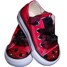 Girls Ladybug Bling Converse Shoes