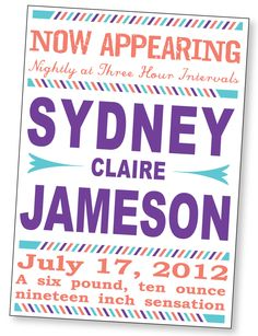 Funny Birth Announcement, No Picture, 4x6 or 5x7, boy or girl Customizable. $12.00, via Etsy.