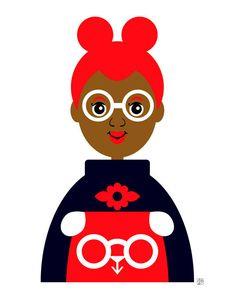 Ragazza 15, illustrazione futuristica ragazza, ragazza alla pecorina felpa, stampa d