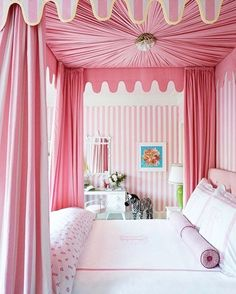 Girls Bedroom/Ruthie Sommers Veranda Magazine - (This reminds me of one of my niece's bedrooms. {sm} design interior design home design Girls Bedroom, Pink Bedrooms, Bedroom Decor, White Bedroom, Dream Bedroom, 6 Year Old Girl Bedroom, Preppy Bedroom, White Canopy, Bedroom Ideas