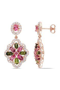 Pink & Green Tourmaline Earrings
