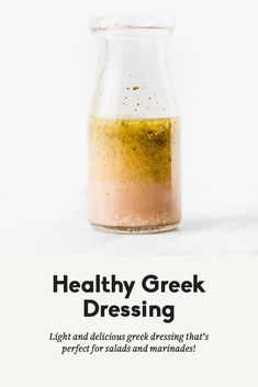 Easy, flavorful healthy greek dressing that's perfect for salads and marinades! This delicious dressing will be a staple for lunches and dinners. Homemade Dressing Recipe, Homemade Greek Dressing, Salad Dressing Recipes, Homemade Sauce, Salad Recipes, Focus Foods, Dressings, Healthy Salads, Healthy Recipes
