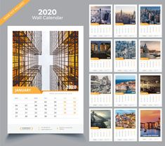 Wall calendar 2020 template Premium Vector | Premium Vector #Freepik #vector #calendar #new-year #template #office Wall Calender, Wall Calendar Design, Art Calendar, Calendar 2020, Desk Calendars, Graphic Design Magazine, Magazine Design, New Year Calendar, Creative Calendar