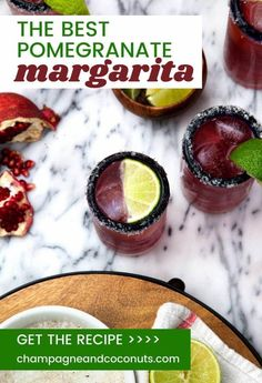 Are you having a party? You should be when you try this amazing pomegranate margarita recipe. And what's even better? It's low calorie! This is a skinny margarita! Cocktail And Mocktail, Cocktail Recipes, Drink Recipes, Marg Recipe, Pomegranate Margarita, Low Calorie Cocktails, Skinny Margarita, Lime Soda, Margarita Recipes