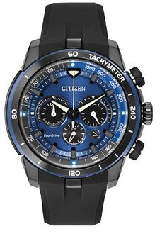 Adventure to new heights with the Citizen Ecosphere. Our proprietary Chroma finishing adds that spark of color to this 1/5 -second chronograph measuring up to 60 minutes and 12/24-hour time. A stainle
