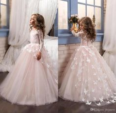 Lovely 2018 New Arrival Lace Flower Girl's Dresses Long Illusion Sleeves Jewel Neck Ball Gown Handmade Butterflies Girl's Pageant Dresses Princess Flower Girl Dresses, Lace Flower Girls, Flower Dresses, Ball Dresses, Ball Gowns, Pink Princess, Princess Party, Ivory Dresses, Girls Pageant Dresses