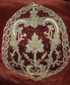 18th C Metallic Stumpwork Embroidery on Silk Velvet Crest Antique Pillow European Chateau Collectible 1700's Bronze and Silver by DibellaLuce on Etsy https://www.etsy.com/listing/384332618/18th-c-metallic-stumpwork-embroidery-on