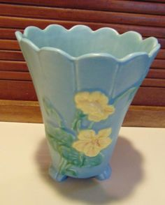 Vintage Weller Blue Vase w/Scalloped Top, Yellow Flower, Ribbed Pattern, Footed in Pottery & Glass, Pottery & China, Art Pottery | eBay