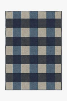 Inspired by the famous Rob Roy tartan, the Buffalo Plaid Blue & Ivory melds deep and light blues for a tricolor pattern. Teal Rug, Grey Rugs, Washable Area Rugs, Machine Washable Rugs, Black Rug, White Rug, Black White, Geometric Rug