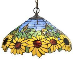 Meyda Lighting Yellow Tiffany Style Stained Glass Wild Sunflower Pendant 16W