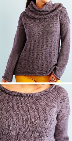 Free knitting pattern for chic feather sweater & removable hood - this long-sleeved pullover is Knit Cardigan Pattern, Cropped Knit Sweater, Cable Knit Cardigan, Sweater Knitting Patterns, Free Knitting, Pullover Sweaters, Cardigans, Pulls, Moss Stitch