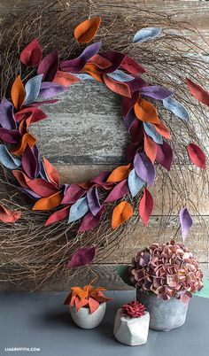 Felt Leaf Wreath for Fall