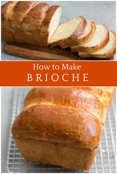 This is a beautiful, classic Brioche Loaf Bread Recipe that turns out the perfect loaf of bread! Artisan Bread Recipes, Bread Machine Recipes, Baking Recipes, Brioche Bread Machine Recipe, Scd Recipes, Bread And Pastries, Loaf Bread Recipe, Breakfast, Bread Recipes