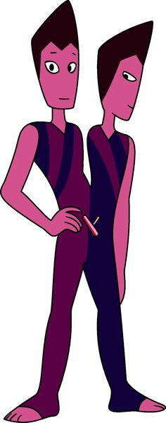 """The Rutile Twins are unaligned Gems living in an abandoned Kindergarten facility on the Gem Homeworld amongst other defective or abnormal Gems known as the Off Colors. They made their debut in """"Off Colors"""". They form a defective Gem, being two Gems having conjoined into one during formation (and sharing one body and gemstone)."""