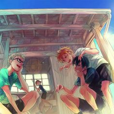 Anime picture  				1000x1000 with   		haikyuu!!  		production i.g  		tobio kageyama  		shouyou hinata  		tsukishima kei  		yamaguchi tadashi  		short hair  		blue eyes  		black hair  		blonde hair  		brown hair  		brown eyes  		sitting  		sky  		cloud (clouds)  		standing  		aqua eyes  		orange hair  		sunlight  		orange eyes