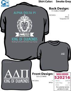 ADPi King of Diamonds philanthropy event t-shirt from Zeta Iota chapter at Georgia College.