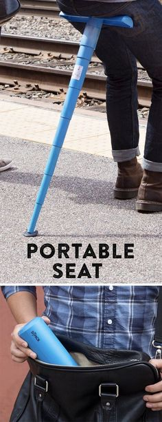 This portable stool fits in your backpack or purse to provide a seat wherever you need it - concerts, parks, games, long lines & more. Discovered by The Grommet.