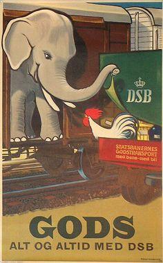 Original vintage poster: DSB - Gods alt og altid med DSB for sale at posterteam.com by Aage Rasmussen