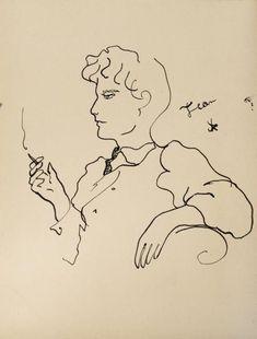 Jean COCTEAU (1889-1963)  PORTRAIT DE LEONARD ST. CLAIR INGRAMS, VERS 1920