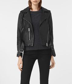 Damen Balfern Leather Biker Jacket (Black) -