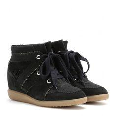 Isabel Marant Étoile Bobby Suede Wedge Sneakers (4 425 SEK) ❤ liked on Polyvore featuring shoes, sneakers, black, wedge sneaker shoes, hidden wedge sneakers, black wedge trainers, hidden wedge shoes and hidden wedge heel sneakers