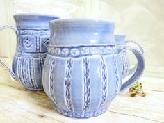 Coffee Cup Mug Stoneware Pottery Blue Big Stripe Design Stamped Quilted Design One-of-a-Kind For Her Large Elegant Cup, Shabby Chic. $26.00, via Etsy.